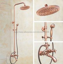 Antique Red Copper Bathroom 8 inch Rainfall Shower Head Shower Faucet Set Bathtub Mixer Tap Brg503 copper shower faucet stainless steel pipe wall mounted shower faucet set shower head bathroom rainfall shower faucet mixer tap