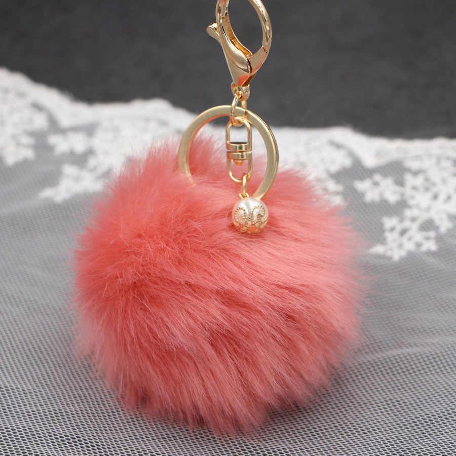 Big Pérola Bola Pom Pom Pele Falso Chaveiro Bola de Pêlo de Coelho Bulbo Capilar Saco Carro Ornamentos Pingente Anel Chave da Porta chiavi