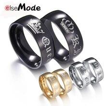 ELSEMODE, 1 шт., титан, Винтаж, король, королева, сделай сам, выгравировано, кольцо для пары, романтическое, обручальное, обручальное, кольца для мужчин, женщин, ювелирное изделие