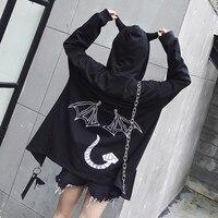 2018 Punk Harajuku Women Black Hoodie Student Loose Hooded Jacket Long Sleeves Devil Demon Wings Horns Zipper Autumn Long Coat
