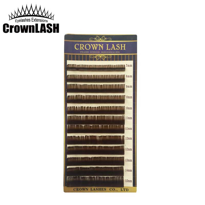 CrownLASH Chocolate Brown B C D 0,10 7-15mm 3D Volym Lash Extension Mjuk Hög Kvalitet Janpanese Style Gratis frakt