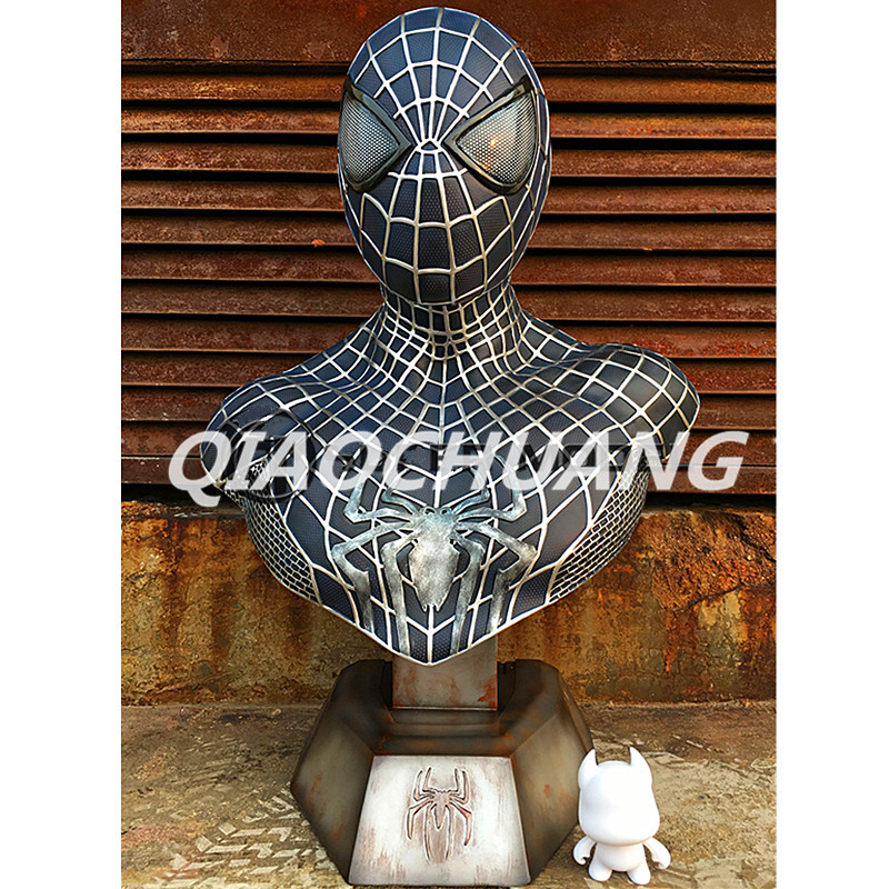 Statue Avengers Superhero Bust Spider-Man Peter Parker 1:1 LIFE SIZE Half-Length Photo Or Portrait Resin Collectible Model Toy statue avengers captain america 3 civil war iron man tony stark 1 2 bust mk33 half length photo or portrait with led light w216