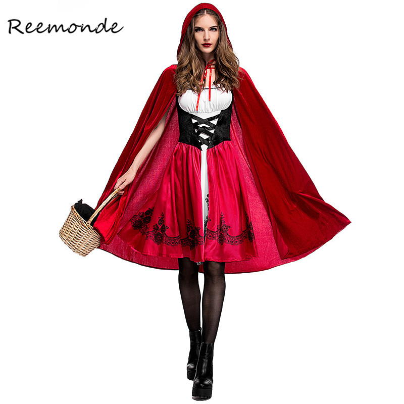 Fairy Tales Little Red Riding Hood Costume Red Cap Cloak Cosplay Cape Clothing For Women Girls Halloween Purim Party Dress
