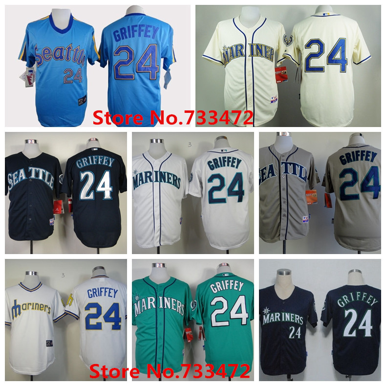 finest selection 2f53c 04fc9 Ken Griffey Jersey New Green Seattle Mariners 24 Retro White ...