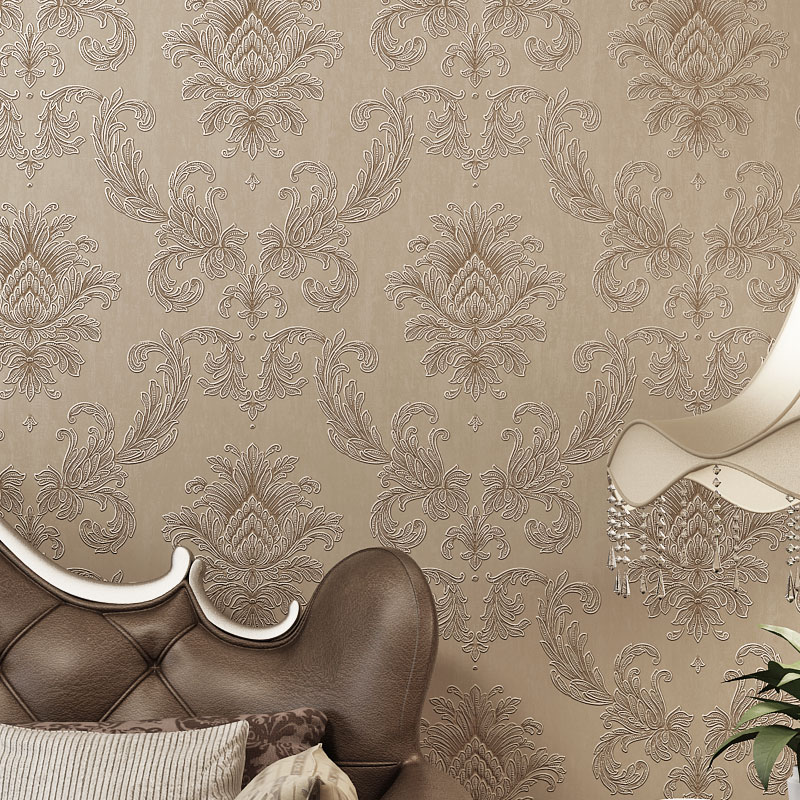 Dcohom Simple Luxury European Style 3D Wallpaper For Bedroom Living Room Walls Decor Beige Grey Brown Damask Wall Paper Rolls