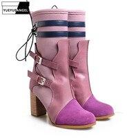 Качество ручной работы женские ботинки до середины икры осень Туфли с ремешком и пряжкой на Высоком толстом каблуке Botas модные дизайнерские