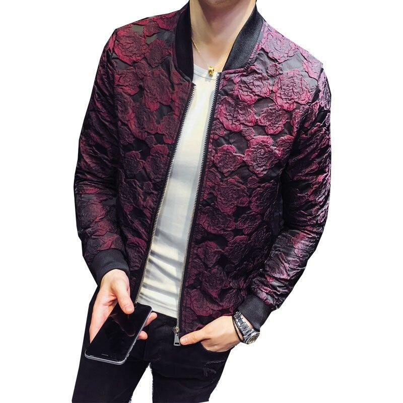 2018 Jacquard Bomber Jackets Men Luxury Wine Red Black Grey Party Jacket Outfit Club Bar Coat Flower Vintage Jacket Men 4XL