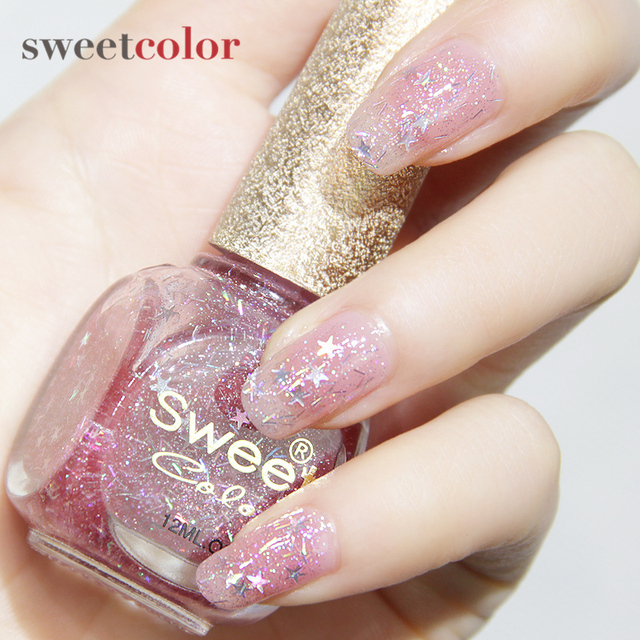 Sweet Color nail polish nude pink cherry pixie dust snowflake green ...
