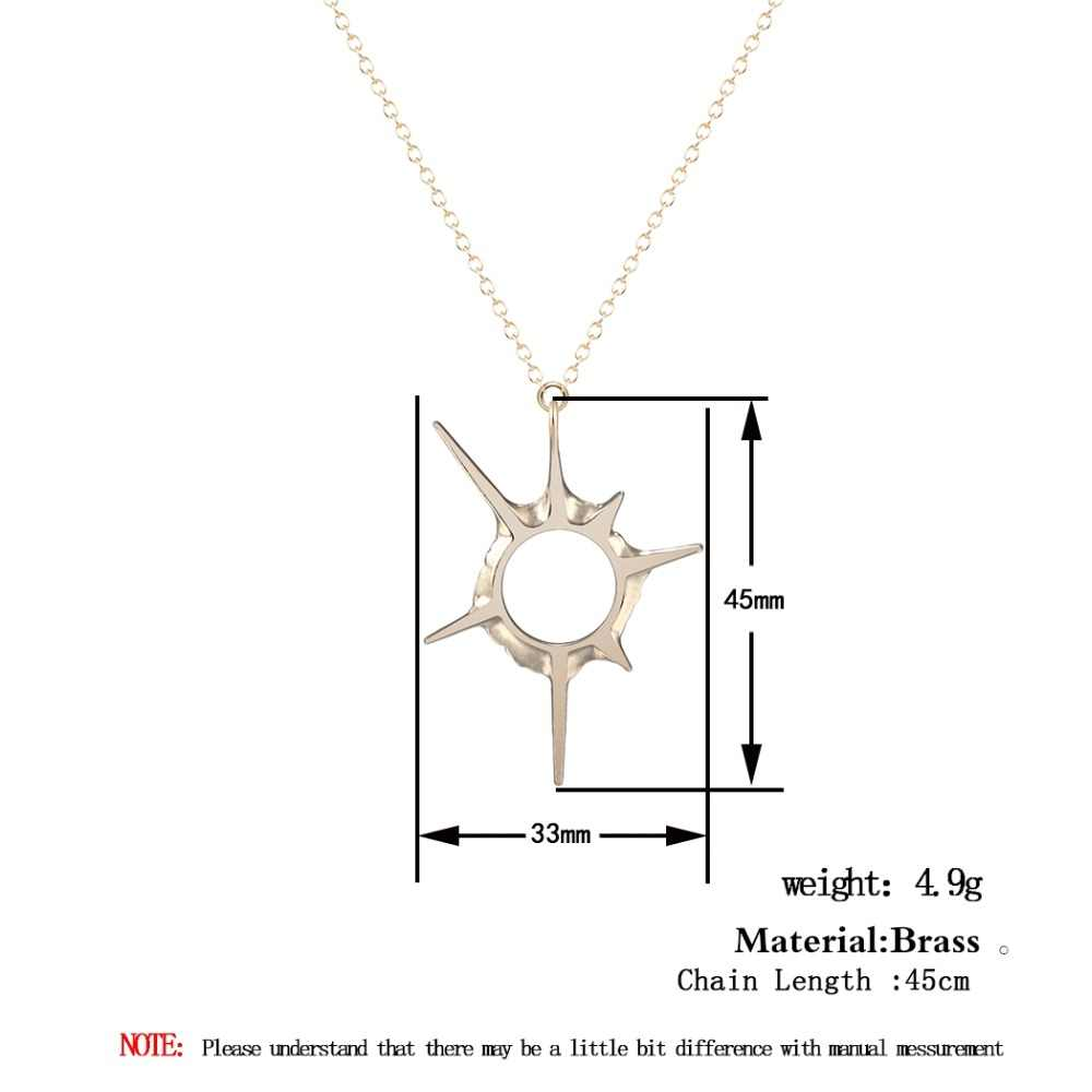 Todorova Jewelry Solar Eclipse Sun Rays Sci-fi Universe Star Pendant Necklace Accessories for Women Minimalist Christmas Gift