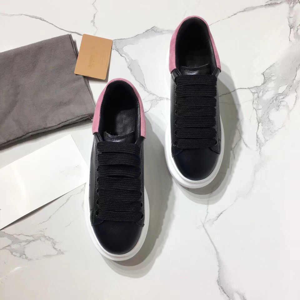 Zapatos de mujer con plataforma de Corlors de color rosa negro, zapatos deportivos de encaje, zapatos casuales de mujer de gamuza de cuero genuino