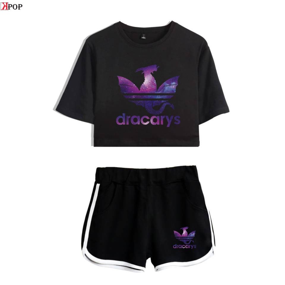 Game Of Thrones Dracarys Modis Hot Sexy Two Piece Sets Soft T-Shirt And Elastic Shorts Kpop Harajuku Comfortable Sexy Style Tops