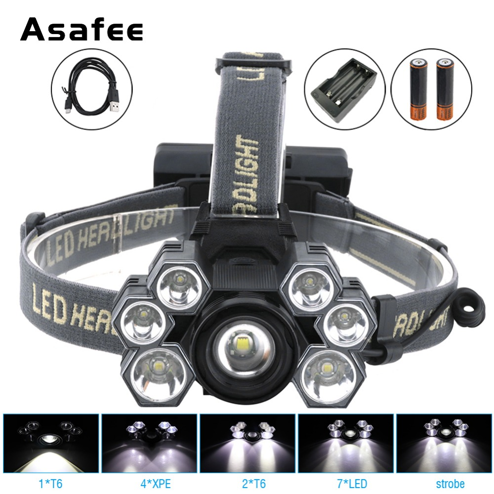 Afaee LED Zoom Headlamp 3000 Lm T6 Head Flashlight Torch 18650 Rechargeable Head Light Forehead Lamp Head Fishing Headlight led headlamp 80000lm 5 7 9 led t6 headlight head flashlight torch forehead rechargeable head lamp fishing headlight flashlight
