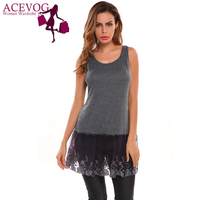 ACEVOG Women Cami Tops Casual Sleeveless O Neck Pullover Vest Lace Patchwork Shirt Extender Blouse Party