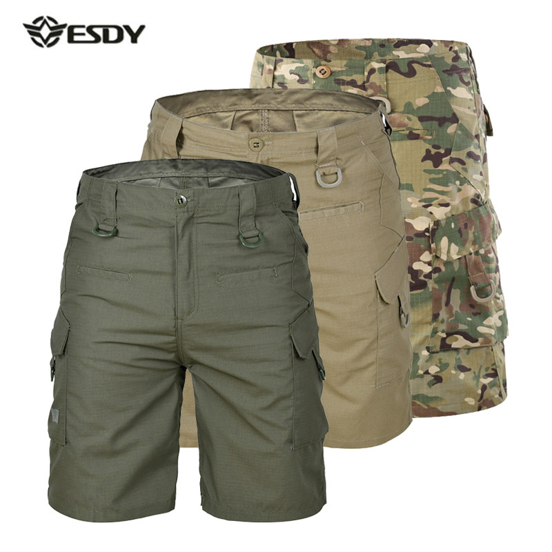 Summer Hiking Shorts Men Quick Dry Large Multi Pocket Loose Outdoor Climbing Training Tactical Camouflage Cargo Tourism Trousers camouflage multi pocket loose fit straight leg zipper fly cargo shorts for men