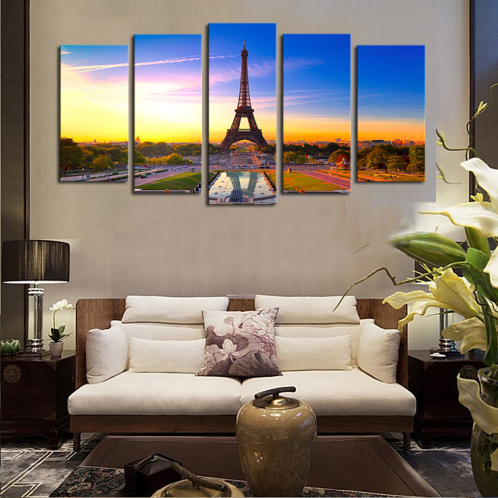 Painting For Living Room Wall Aliexpresscom Buy 5 Panels Canvas Print Paris City View