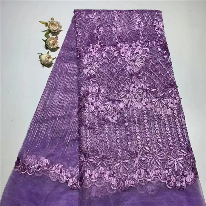 Cheap Price Africa purple Lace Fabric With Stones Sewing Material French Milk Silk Lace Fabric For Bride Wedding Dress(TS-2-19Cheap Price Africa purple Lace Fabric With Stones Sewing Material French Milk Silk Lace Fabric For Bride Wedding Dress(TS-2-19