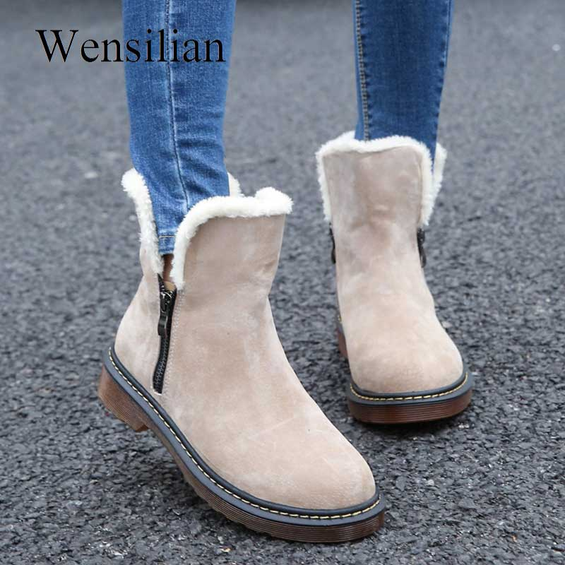 Fashion Women Winter Boots Female Zipper Flock Plush Fenty Beauty Snow Ankle Boots Ladies Bottes Size 35 43 Zapatos Mujer