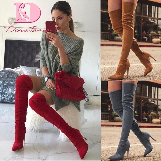 DoraTasia thương hiệu phụ nữ mới giày phụ nữ khởi động kích thước lớn 31-43 mùa thu over khởi động đầu gối mỏng cao gót giày sexy khởi động bên