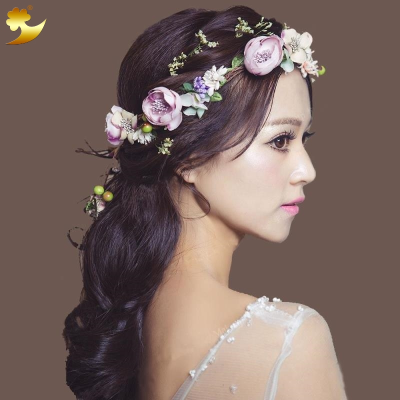 XinYun Flower Headband Hairwear Bridal Hair Ornament Fabric Flower Crown Wedding Hair Accessories Headbands Floral Head Wreath 2017 newly fashion tiara hairwear headpiece plastic flower hairdress wedding hair accessories head chain bridal hairwear ma064
