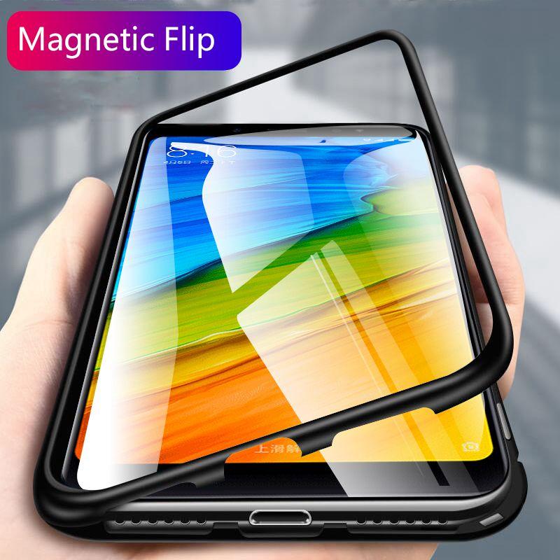 Hybrid Magnetic Metal Case For Xiaomi Redmi Note 5 Pro 6 6A Tempered Glass Case For Xiaomi Pocophone F1 Mi 8 SE Mi8 Lite 6X A2