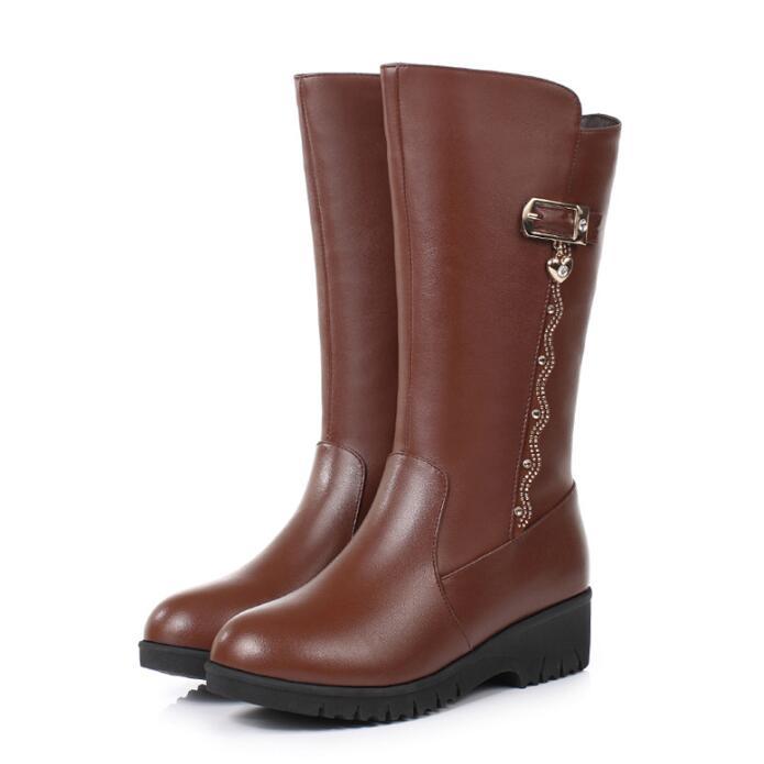Taille Bottes En Neige 2018 laine Noir La De Véritable marron Femmes Nouveau D'hiver gris Chaussures Cales or tube Mode Confort Chaud Peluche Plus Dans Cuir yb7fg6