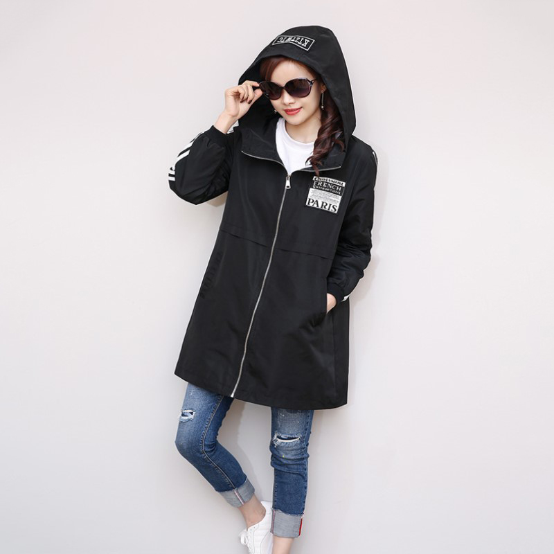 S-XL Spring Autumn Women Leisure Zipper   Trench   Female Streetwear Coat Female Midi Pattern Loose Big Yards Windbreaker 2018 New