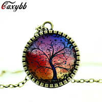 Pendant necklace Tree of Life Tree photo Fashion glass cabochons antique bronze chain necklace fashion jewelry for women