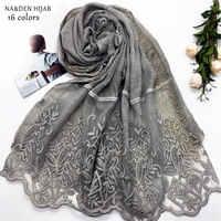ใหม่ rhinestone hijab ผ้าพันคอผ้าคลุมไหล่เย็บปักถักร้อยดอกไม้แฟชั่นผู้หญิงผ้าพันคอผ้าคลุมไหล่ยี่ห้อ wrap muffler 16 สี