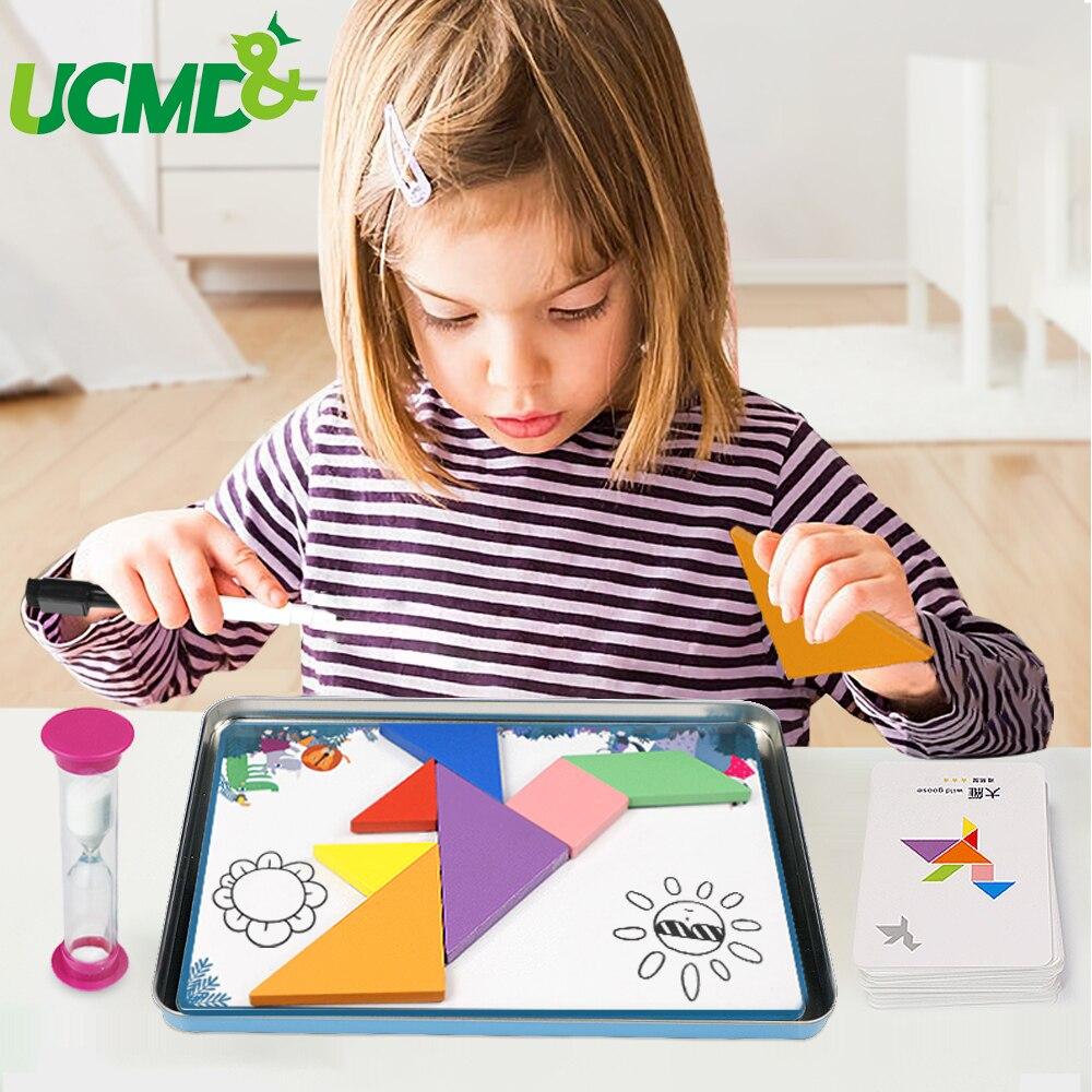 En bois magnétique 3D Tangram Puzzle jeu de Puzzle écriture planche à dessin sablier apprentissage éducatif Montessori jouet cadeau pour les enfants