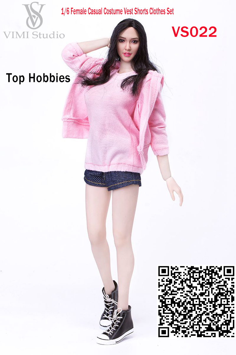 Vimi 1/6 Female Casual Costume Sports Vest Shorts Clothes Suit +Black Shoes Fit/12 Phicen/Jodoll/HT/VER Body Doll Figure VS022