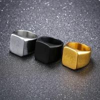 Men Titanium Ring Brief Design Fashion 316L Stainless Steel Punk Black Ring Wedding Engagement Ring
