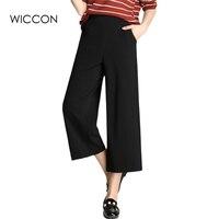 Summer High Waist Chiffon Wide Leg Pants Korean Loose Slim Casual Ankle Length Pants Solid Black