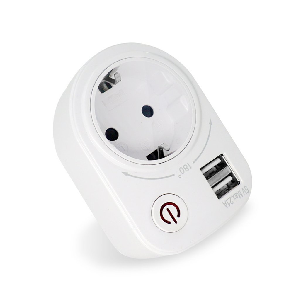 5V 2.1A Electric Dual USB Charger Adapter EU Plug Intelligent Plug-in Wall Socket Charging Power Switch Outlet Home Travel