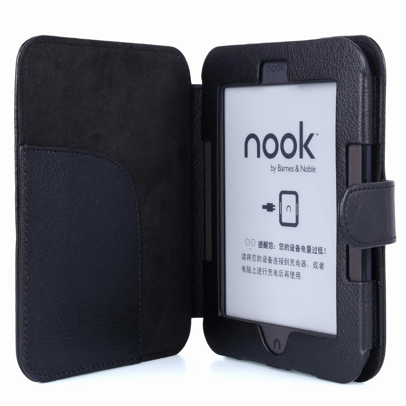 Ultra Slim Black Leather Case for for Barnes and Noble Nook 2 /3 Ebook Reader Smart Cover for Nook