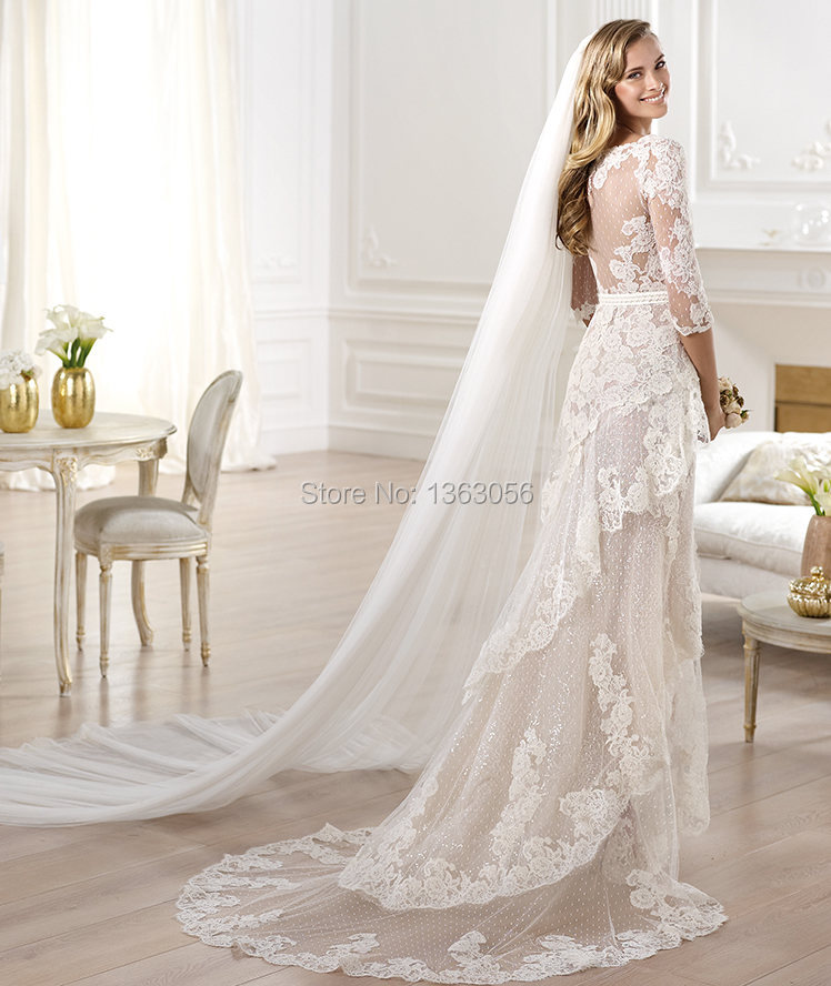 W3088 Romantic off the shoulder side slit ivory lace half sleeve ...