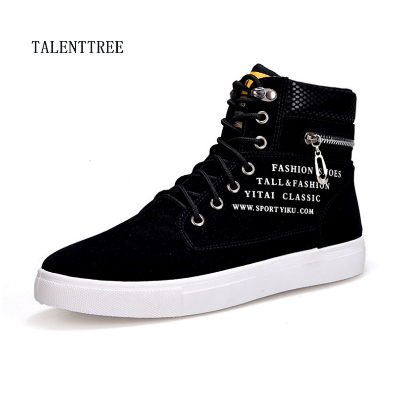 New 2018 Fashion Men Shoes Brand Design Men Ankle Boots Casual Flock Pu Patchwork Punk Rock Chain High Top Sneakers For Men