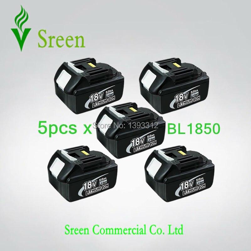 5 PCS 5000 mAh Rechargeable Li Ion Power Tool Batterie de Remplacement pour Makita 18 V BL1830 BL1840 BL1850 LXT400 194205-3 194230-4