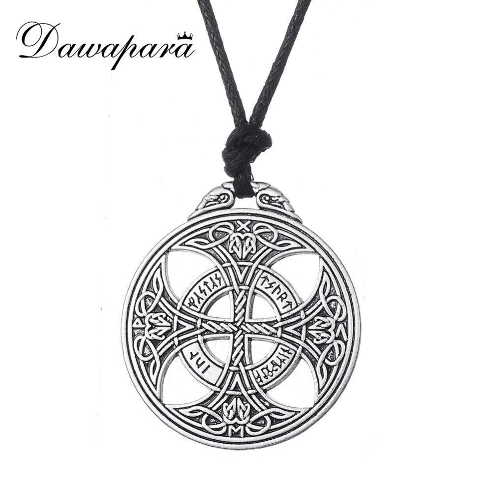 Dawapara Collares Lucky Knot Viking Norse Rune Wiccan Pagan Asatru Double side Pendant Necklace Jewelry with adjustable cord