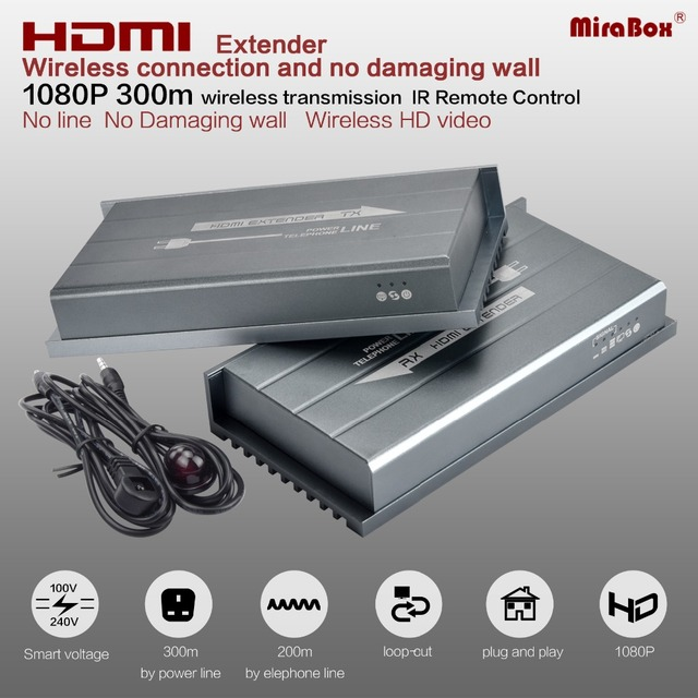 MiraBox HDMI Wireless Extender Over Home Power Line Up to 300M 984ft Support 1080p Full HD IR Loopout Power Line HDMI Extender