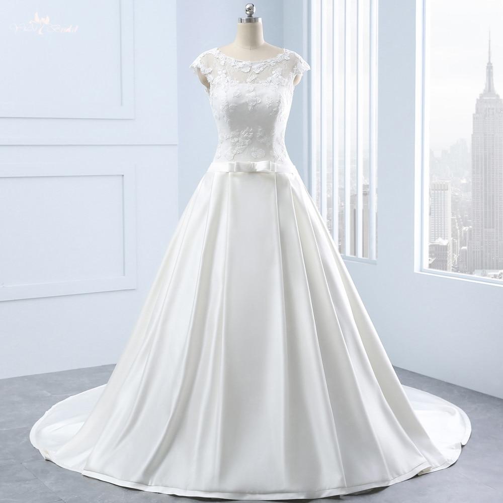 RSW1336 Real Custom Made Boat Neckline Lace Corset Bridal Simple Satin Wedding Dress