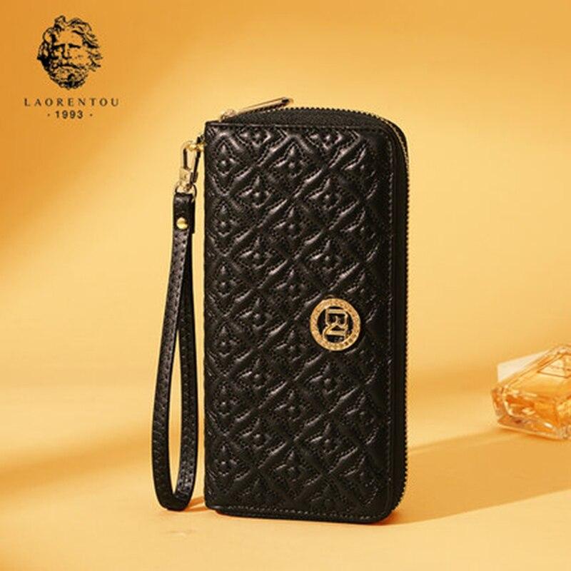 LAORENTOU Women Long Wallets 2017 New Fashion Split Leather Wallet Women Long Purse Simple & Stylish Lady Wallets With Zipper