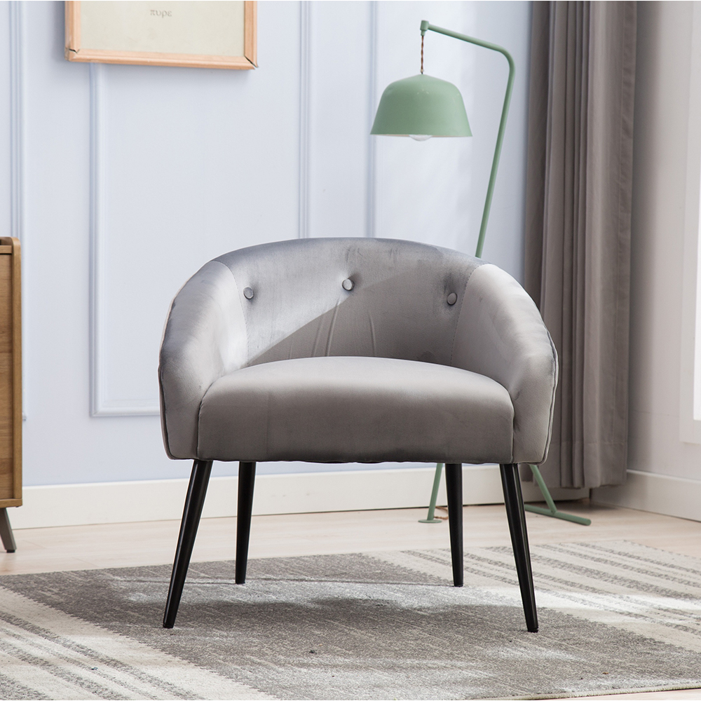 Enjoyable Modern Tufted Arm Chair Grey Upholstered Velvet Accent Chair Ocoug Best Dining Table And Chair Ideas Images Ocougorg