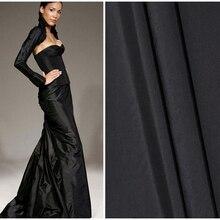 100cm*140cm Quality Yarn Dyed Silk Cloth Gown Black Silk Taffeta Fabric