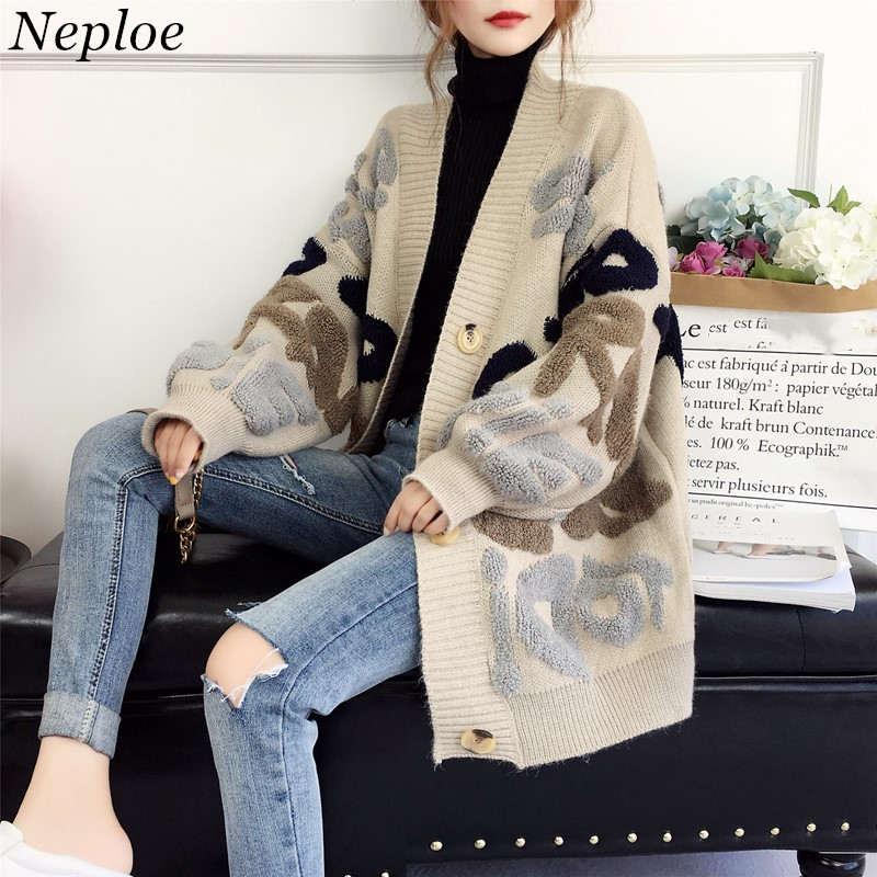 Neploe Sweater Coat Tops Female Cardigan Letter Winter Clothes Harajuku Loose Knitted Korean