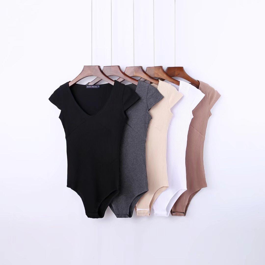 קיץ חולצת רומנטי בודיסויט נשים סקסי bodysuit נקבה סרבל קצר שרוול playsuit סרבלים