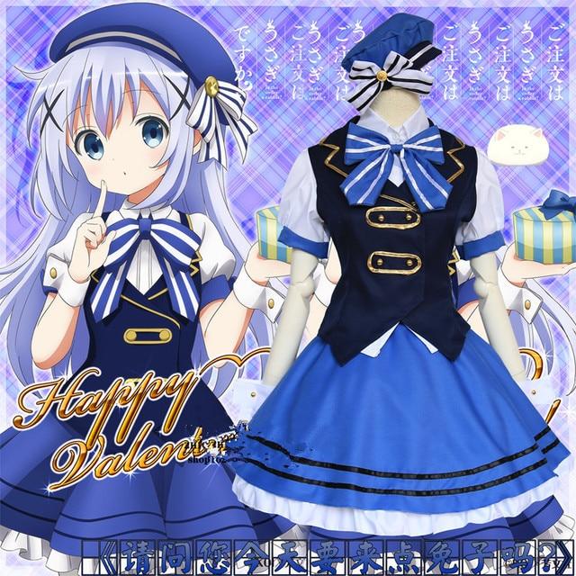 Gochuumon wa Usagi Desuka? Cartoon Anime Cosplay Halloween Kafuu Chino Cos Woman blue daily navy suit Maid Costume Cosplay