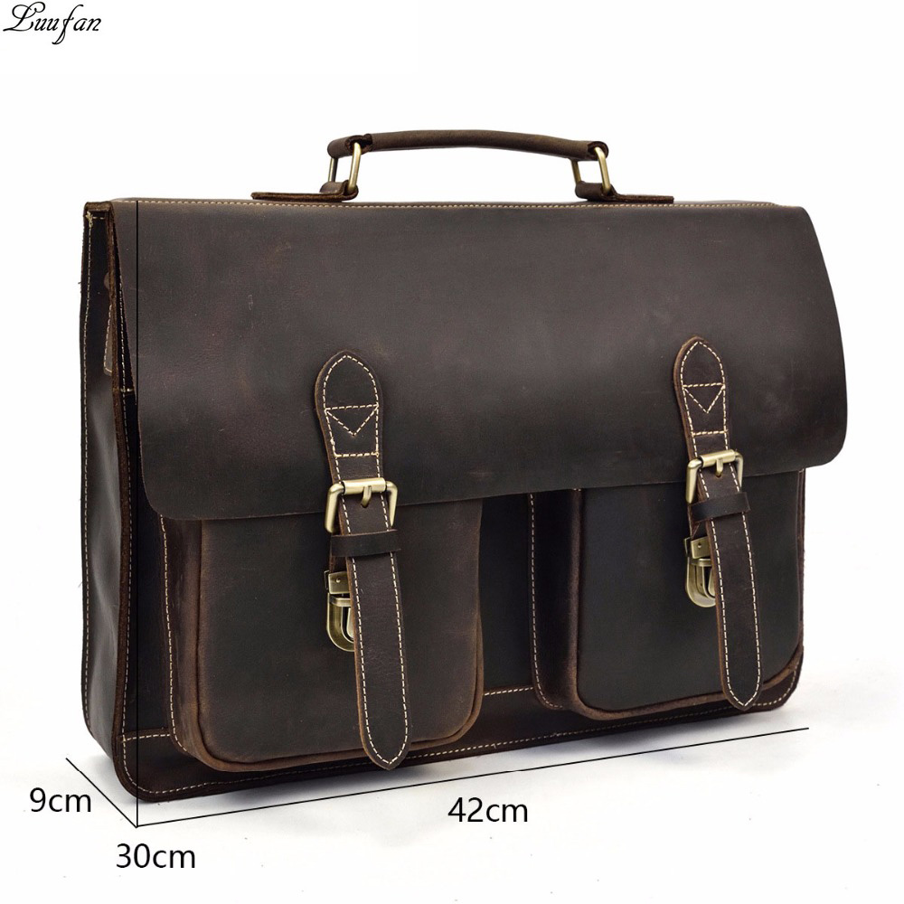 Crazy Horse Genuine Leather Man Briefcase Vintage Real Cow Leather Male Messenger Shoulder Bags Laptop Business
