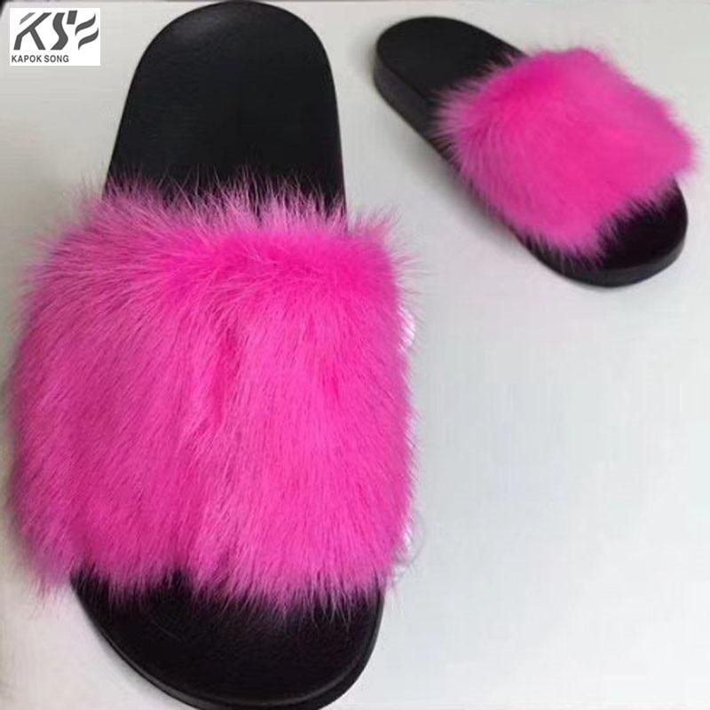 slippers women Mink hair slipper fashion designer luxury model genunie sheepskin leather comfortable sandals women shoes  lady