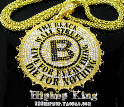 Black Wall Street Pendant B Chain Hiphop Ultralarge Coarse Necklace Pendant