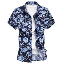 Floral Male Shirt Short sleeve Flower Blouse Men Hawaiian Style Blue yellow Slim Summer